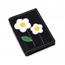 Beli cvetići - crni novčanik/futrola za kreditne kartice