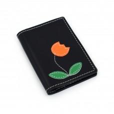Narandžasta lala - crni novčanik/futrola za kreditne kartice