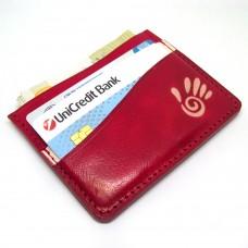 Crveni Minimalistički Kožni Novčanik Za Kreditne Kartice