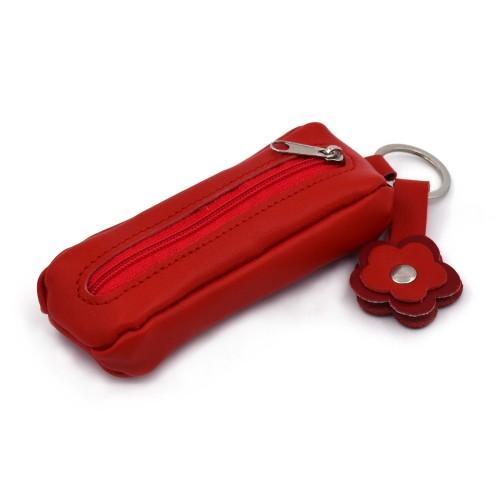 Kožna futrola za ključeve Mira - crvene boje