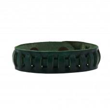 Pletena kožna narukvica Panta - zelena