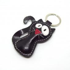 Crna mačka kožni privesak za ključeve
