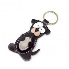 Crni pas kožni privesak za ključeve