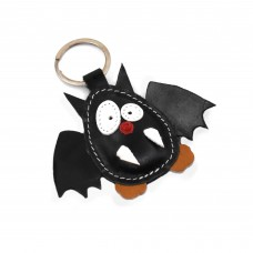 Crni šišmiš kožni privesak za ključeve