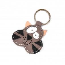 Lešnik braon mačak kožni privesak za ključeve