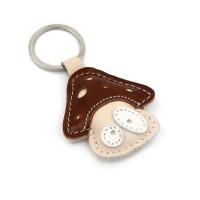 Kožni privezak za ključeve pečurka braon