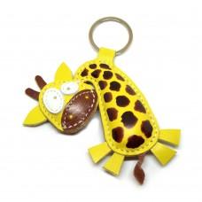 Žirafa kožni privesak za ključeve