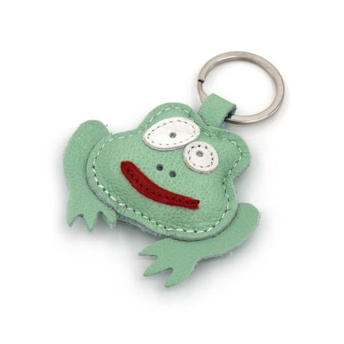 Zelena žaba kožni privesak za ključeve