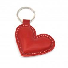 Kožni privezak za ključeve crveno srce