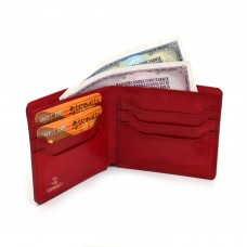 Crveni minimalistički muški kožni novčanik