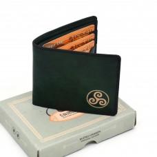 Triskelion zeleni muški kožni novčanik  - ručni rad
